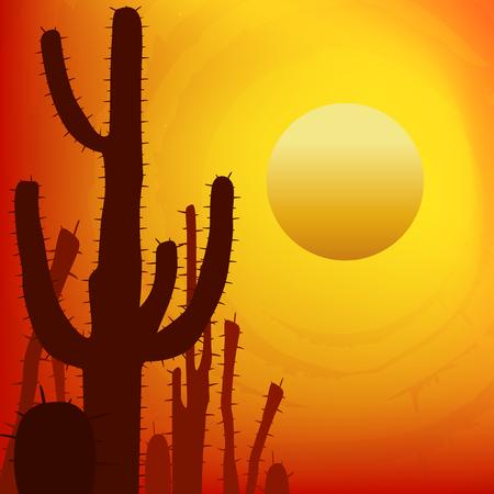 saguaro: Sunset with Saguaro Cactus. Vector background.