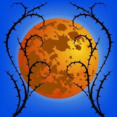 thorn bush: Thorn against moon. Vector Background.
