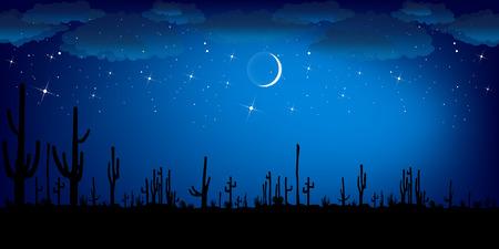 saguaro: Saguaro Cactus at night. Vector background.