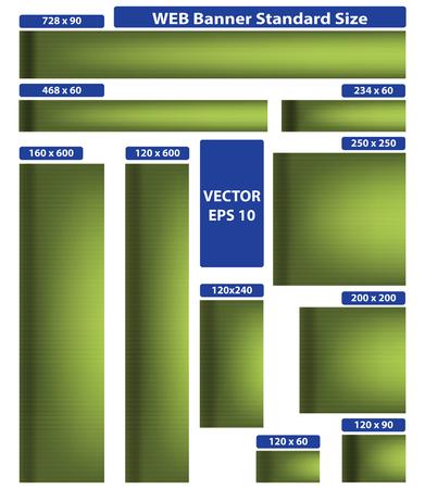 standard size: Web banner standard size. Green set. 10 pieces.