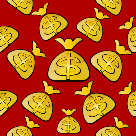 excess: Bags with dollars on a red background. Seamless vector background.