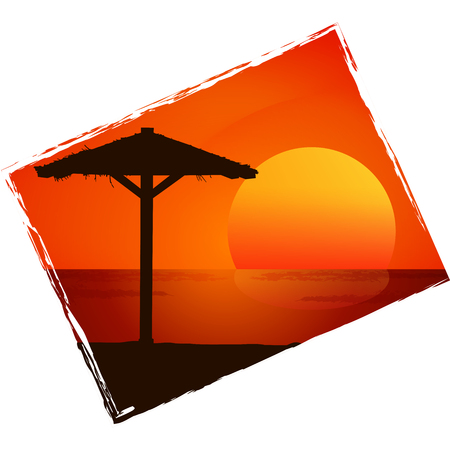 beach sunset: Sunset on the beach. Colorful vector background.