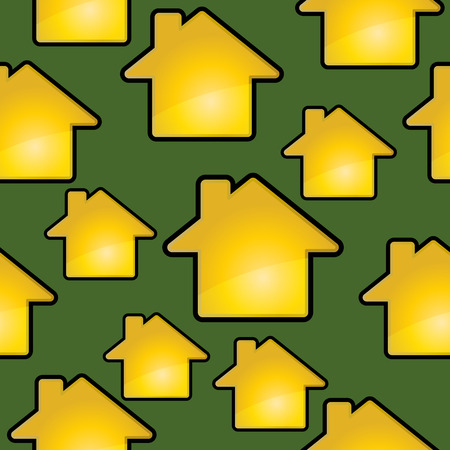 Golden houses on a green. Seamless vector background.