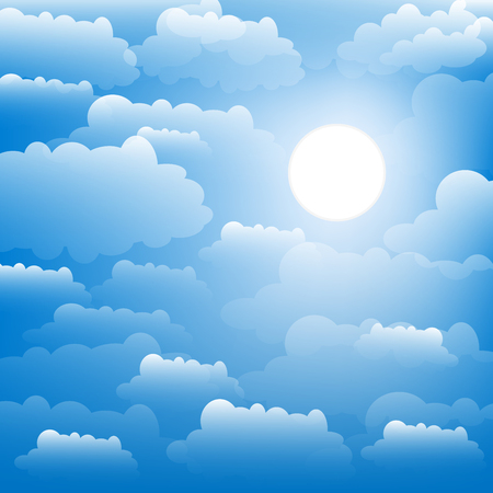The sky with clouds and sun. Vector illustration.