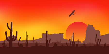 Sunset with Saguaro Cactus. Colorful Vector background.