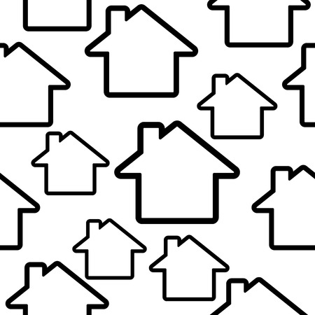 Abstract symbols of the house. Seamless black and white vector pattern.
