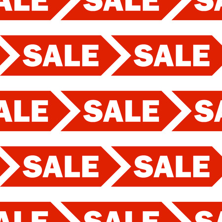 noticeable: Seamless vector background with red sale signs over white.