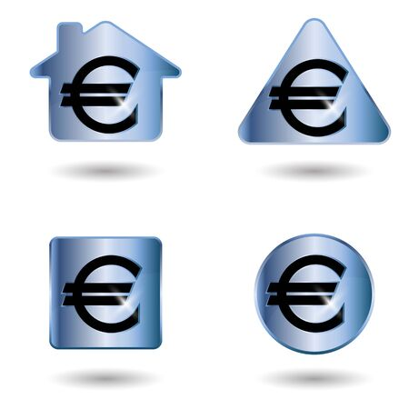 euro sign: Euro sign. A set of four colorful vector elements.