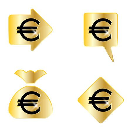 Euro sign. A set of four useful vector elements.