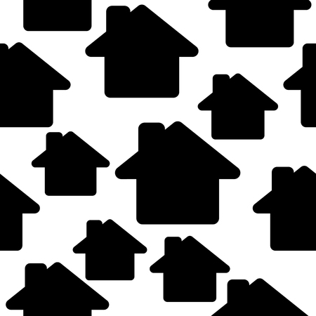 Seamless pattern with abstract houses. Black and white vector. Illustration