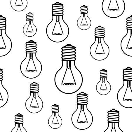 Light bulbs seamless black and white vector pattern. Illustration
