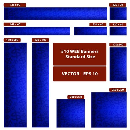 Dollars over blue. Vector WEB banners standard size set.