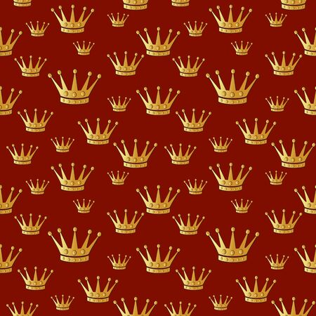 Gold crown on a red. Seamless vector pattern.