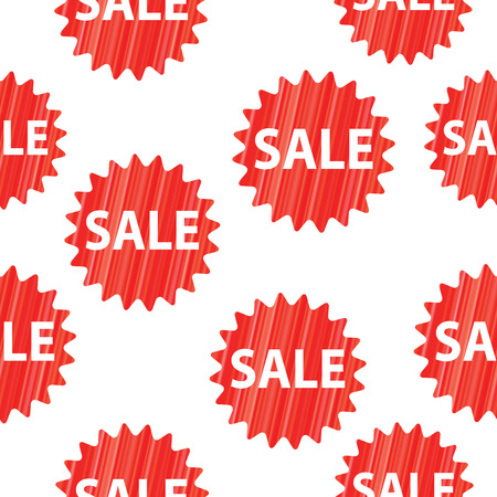Seamless vector background with red sale signs over white.