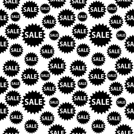 Seamless vector background with black sale signs over white. Illustration