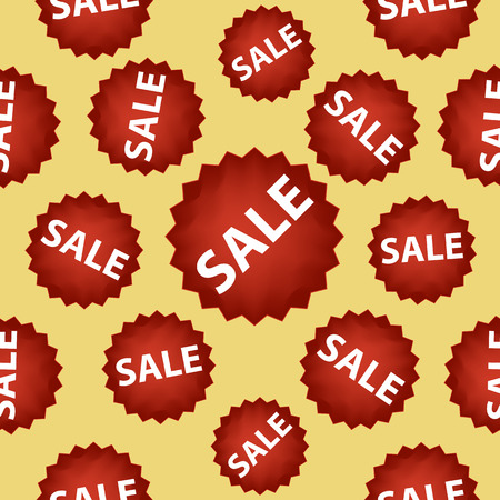 Seamless vector pattern with red sale signs over gold.