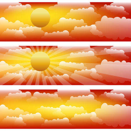 The sky with clouds and sunrays. Three vector strips. Illustration