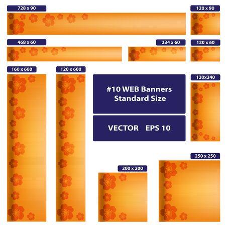 Ten WEB banners standard size vector set. Sakura over orange.