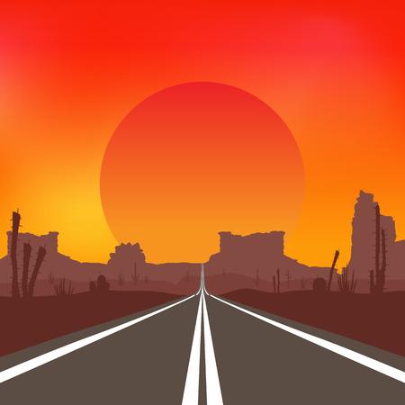Road in the desert at sunset. Colorful Vector landscape. Illustration