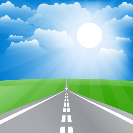 Spring landscape with road and sun. Vector illustration Illustration