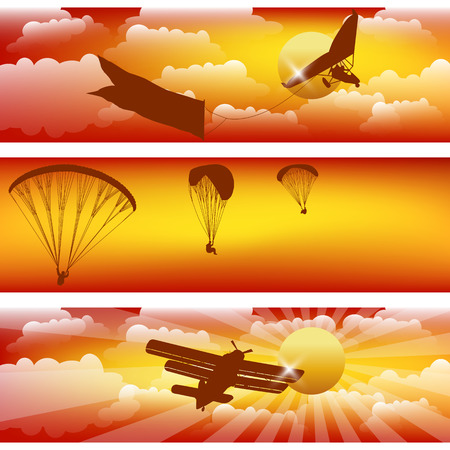 Three horizontal stripes with colorful sunset sky. Illustration
