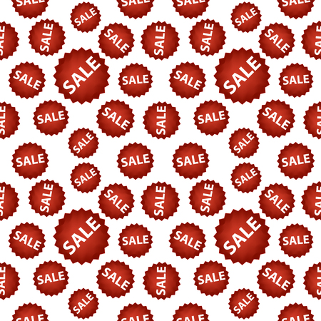 Seamless pattern with red sale signs over gold.