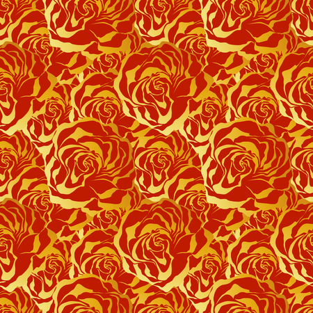 Red and gold roses. Seamless colorful pattern. Illustration