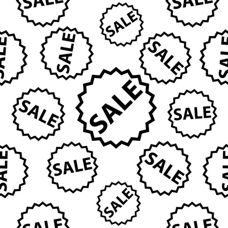 Seamless background with black sale signs over white. Illustration
