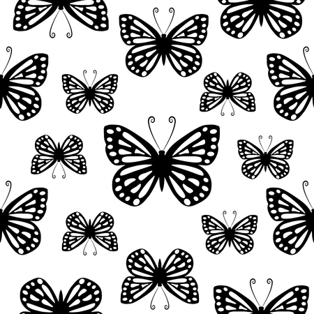 Butterflies. Seamless black and white pattern.