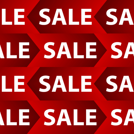 Seamless background with red sale signs over white.