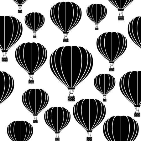 Aerostat balloon. Black and white seamless pattern.