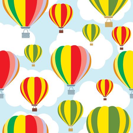 Aerostat balloon over sky. Colorful pattern.