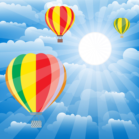 Aerostat balloons over sky.