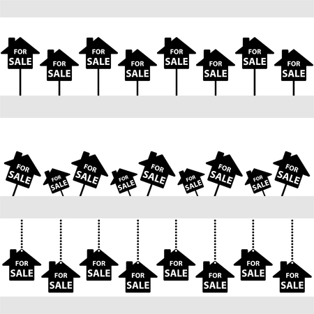 Three stripes with for sale signs.