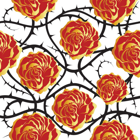 thorn bush: Red and golden roses. Illustration