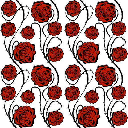 Red Roses over white. Illustration