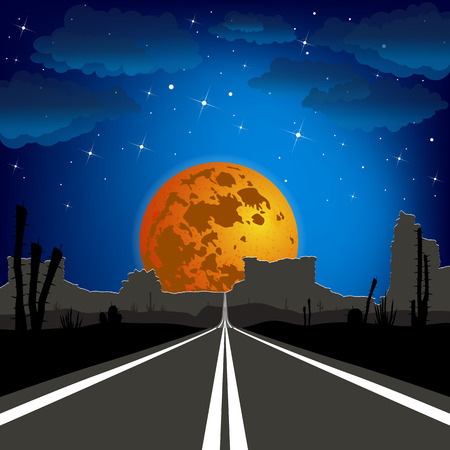 The road in the desert at night