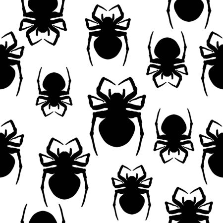 Spiders. Seamless black and white background. Illustration