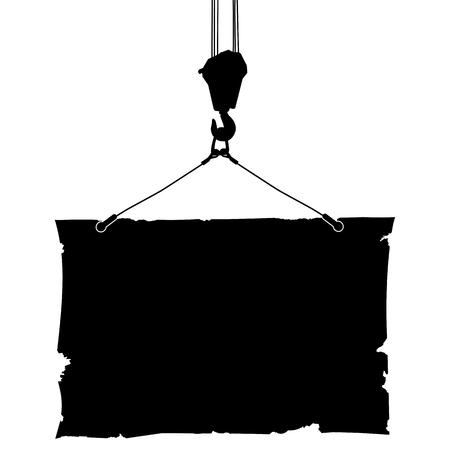 hoist: Hook crane lifts the poster.