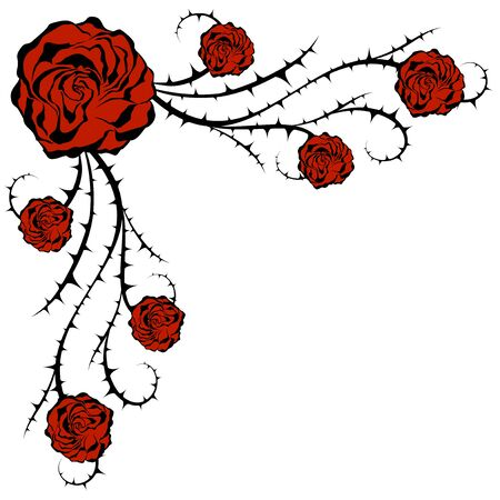 Roses and bush. Illustration