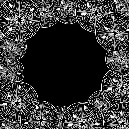 Sliced lemon. Black and White Background