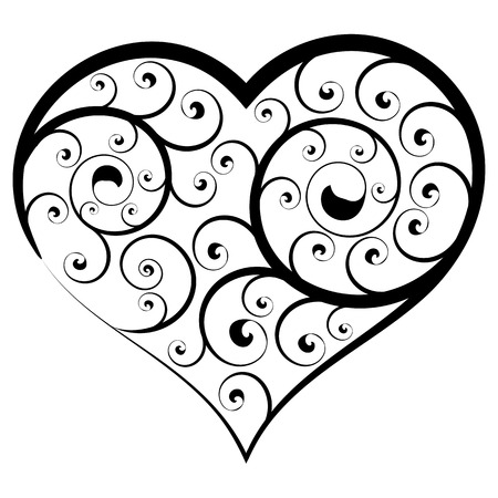 Abstract floral heart. Black and white vector element