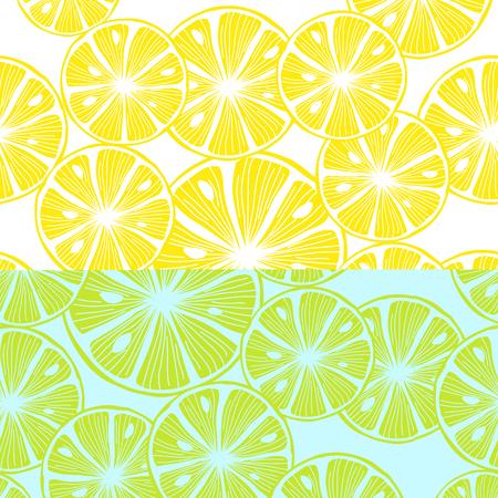 Sliced lemon. Colorful Seamless Vector Background Stock Illustratie