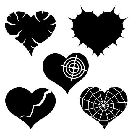 Set of five vector black hearts over white Illustration