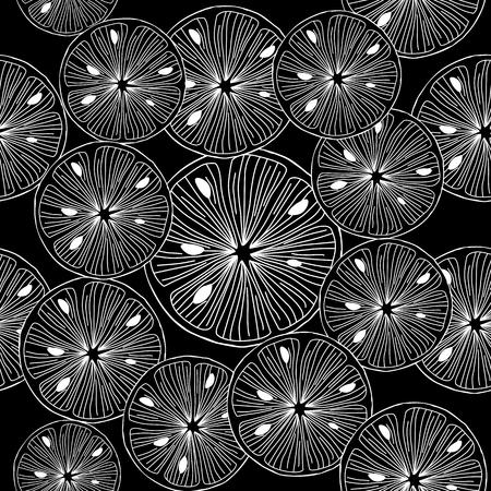 Sliced lemon. Black and white Seamless Vector Background