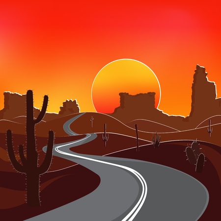 The road in the desert at sunset. Vector illustration