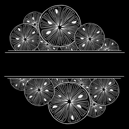 Sliced lemon. Black and White Vector Background