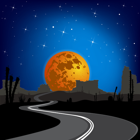 The road in the desert at night. Vector landscape Stock Illustratie
