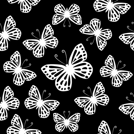 Butterflies seamless black and white vector pattern