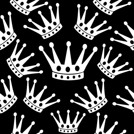 Crown seamless background. Black and white vector